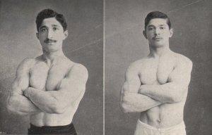 Giorgos, el trepador de soga olímpico más rápido de la historia (izq) y su hermano Niko (der), también ganador de oro en Atenas 1906, en el pentatlón. Por alguna razón que no sabemos, el medallero de wikipedia de estos juegos no muestra medallas para Turquía.