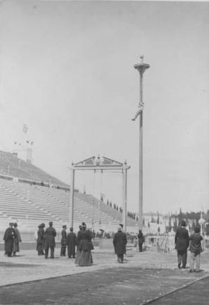 un trepador compitiendo en Atenas 1896. Todavía no había BMX ni voley de playa en esa época