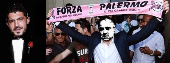 """Gattuso, que nunca jugó en el Palermo, sostiene la bufanda que reza """"Palermo en el corazón, el más grande amor"""". La mafia siciliana del s.XXI ahora también trafica humo"""