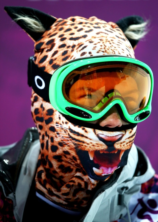 Elizavetta Chesnokova of Russia wears a mask in the freestyle ladies' ski halfpipe
