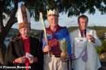Trevor Bowen, Archbishop of Redonda, John Duffy, Viceroy of Redonda and King Michael the Grey at the coronation at Fort Charlotte